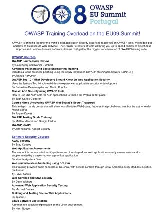 OWASP Training Overload on the EU09 Summit!
