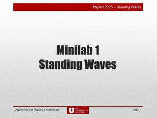 Minilab 1 Standing Waves