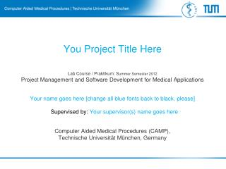 Lab Course /  Praktikum :  S ummer Semester 2012 Project  Management and Software Development for Medical Applications
