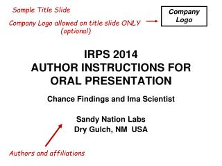 IRPS 2014 AUTHOR INSTRUCTIONS FOR ORAL PRESENTATION