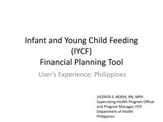Infant and Young Child Feeding (IYCF) Financial Planning Tool