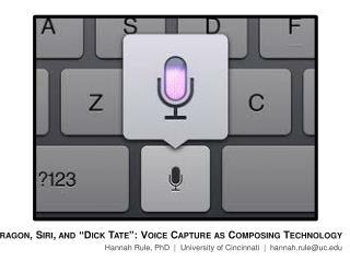 "Dragon,  Siri , and ""Dick Tate"": Voice Capture as Composing Technology Hannah Rule, PhD  |  University of Cincinnati  |"