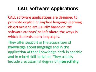 CALL Software Applications