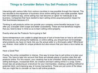 Things to Consider Before You Sell Products Online