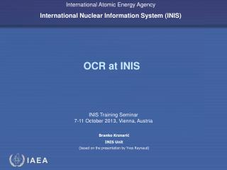 OCR at  INIS
