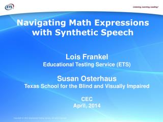 Navigating Math Expressions with Synthetic Speech