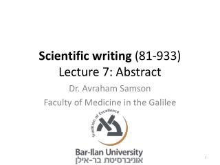 Scientific writing  (81-933) Lecture 7: Abstract