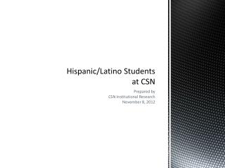Hispanic/Latino Students at CSN