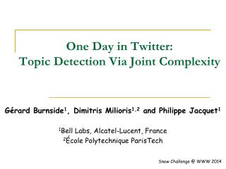 One Day in Twitter:  Topic Detection Via Joint Complexity