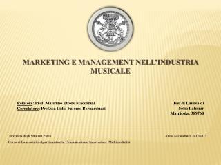 Marketing e management nell'industria musicale