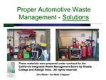 proper automotive waste management - solutions