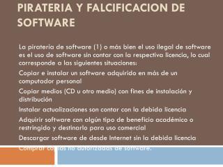 PIRATERIA Y FALCIFICACION DE SOFTWARE