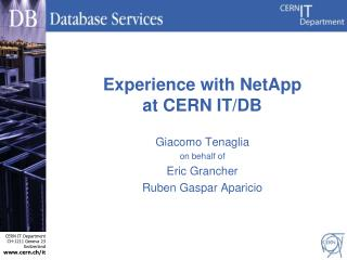 Experience with NetApp at CERN IT/DB