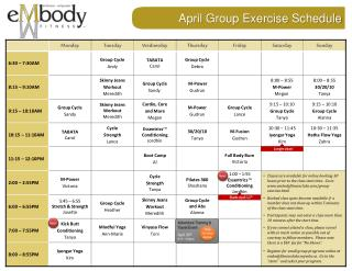 April Group Exercise  Schedule