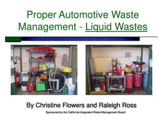 proper automotive waste management - liquid wastes