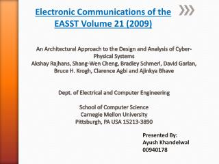 Electronic  Communications of the  EASST Volume  21 ( 2009)