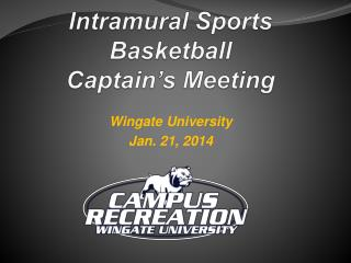 Intramural Sports Basketball Captain's Meeting