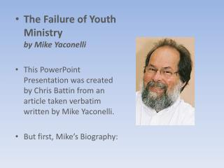 The Failure of Youth Ministry by Mike Yaconelli