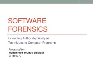 Software Forensics