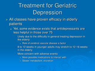 treatment for geriatric depression