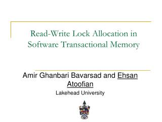 Read-Write Lock Allocation in Software Transactional Memory