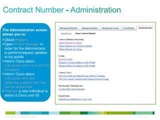 Contract Number - Administration