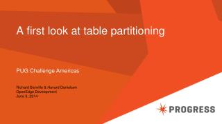 A first look at table partitioning