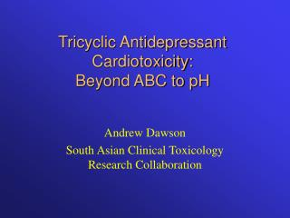 tricyclic antidepressant cardiotoxicity: beyond abc to ph
