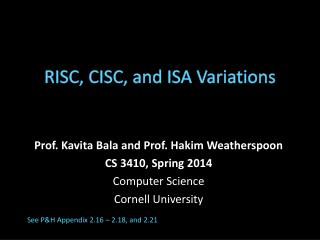 RISC, CISC, and ISA Variations