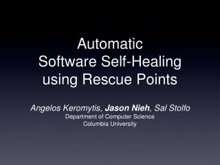 Automatic  Software Self-Healing using Rescue Points