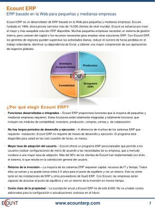 Ecount ERP ERP basado en la Web para pequeñas y medianas empresas