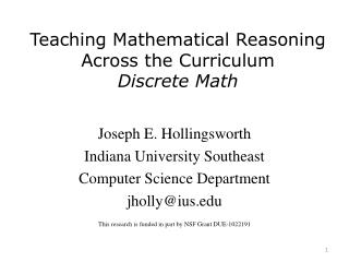 Teaching Mathematical Reasoning Across the Curriculum Discrete Math