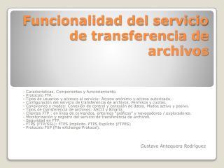 Funcionalidad del servicio de transferencia de archivos