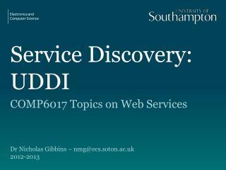 Service Discovery: UDDI