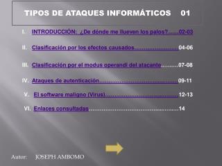 TIPOS DE ATAQUES INFORMÁTICOS     01