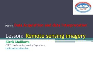Lesson:  Remote sensing imagery