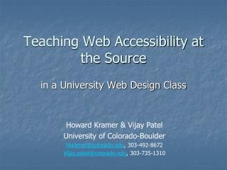 Teaching Web Accessibility at the Source