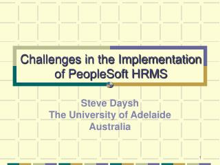 challenges in the implementation of peoplesoft hrms