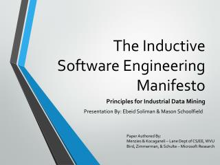 The Inductive Software Engineering Manifesto