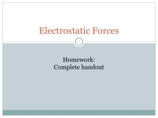 Electrostatic Forces