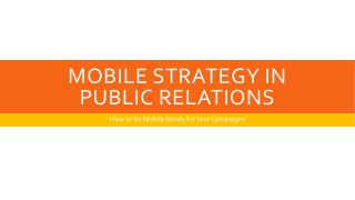 Mobile Strategy In  Public Relations