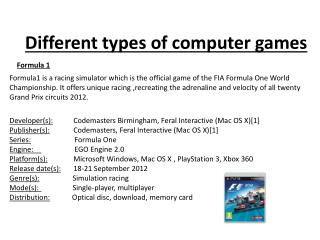 Different types of computer games