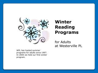 Winter Reading Programs  for Adults at Westerville PL