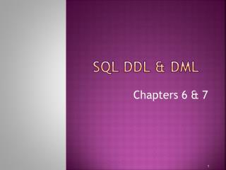 SQL DDL & DML