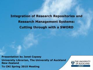 Integration  of  Research  Repositories and Research  Management  Systems:  Cutting  through with a SWORD