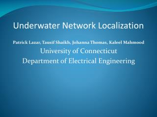 Underwater Network Localization