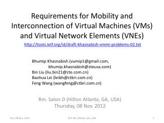 Requirements for Mobility and Interconnection of Virtual Machines (VMs) and Virtual Network Elements (VNEs)