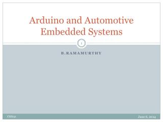 Arduino and Automotive Embedded Systems