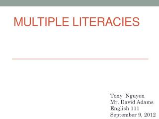Multiple Literacies