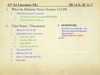 11 th  A1 Literature (SL)           (B) 11 /6,  (E) 11 /7